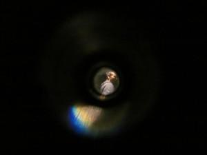 Contestant durch einen Spion betrachtet