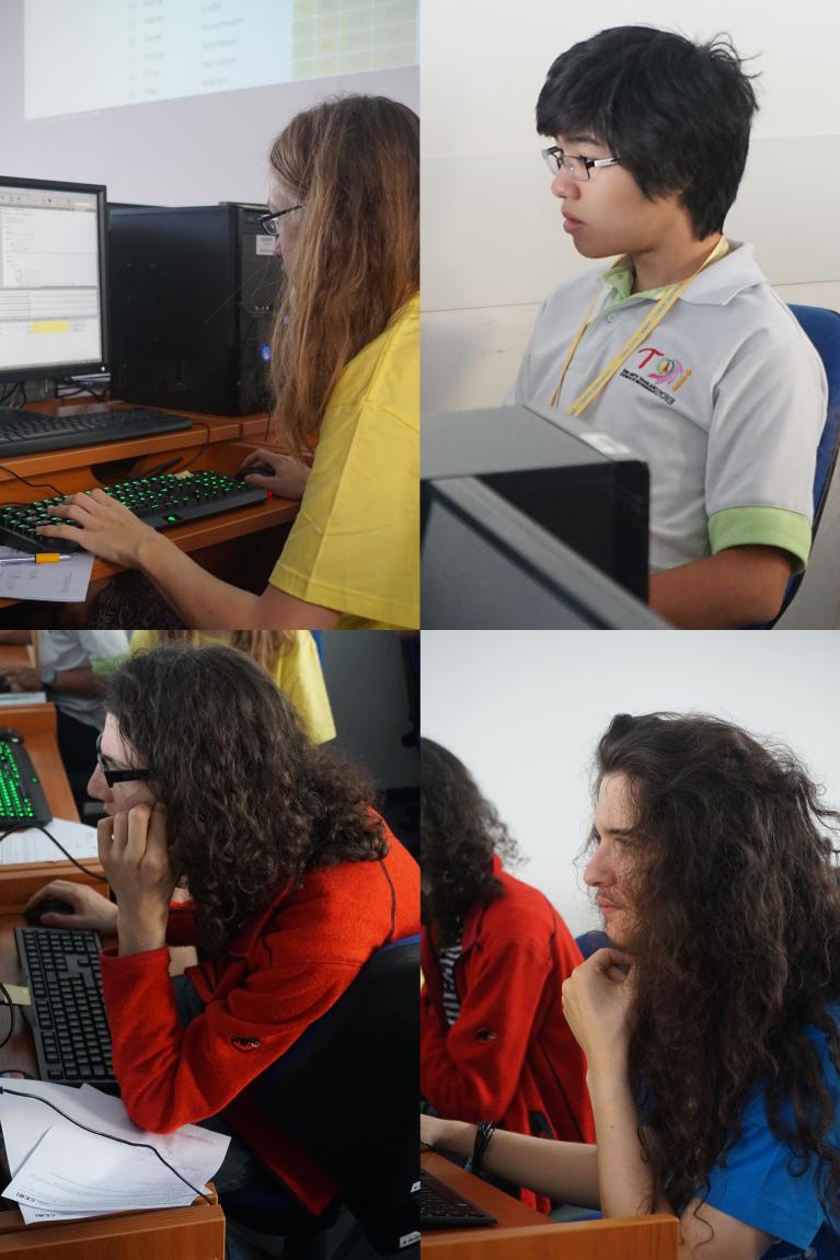 Die Teilnehmer bei der Practice Competition. Von oben nach unten, links nach rechts: Julian, Anan, Felix, Philip.
