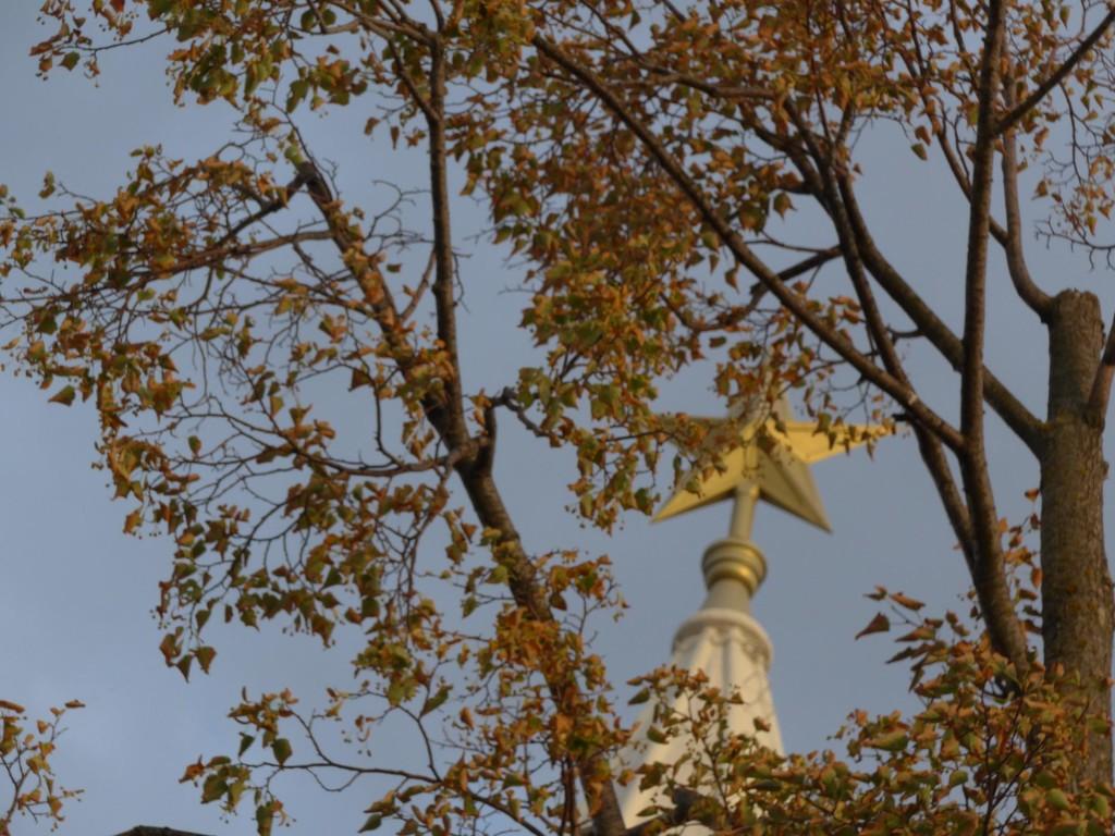Stern auf der Spitze eines Tores des Kasaner Kremls, verdeckt von den Ästen eines Baums